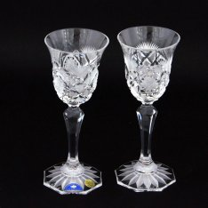 Set of two crystal handmade liquor cups Šafránek 406