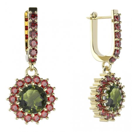 BG circular earring 096-94 - Metal: Yellow gold 585, Stone: Garnet