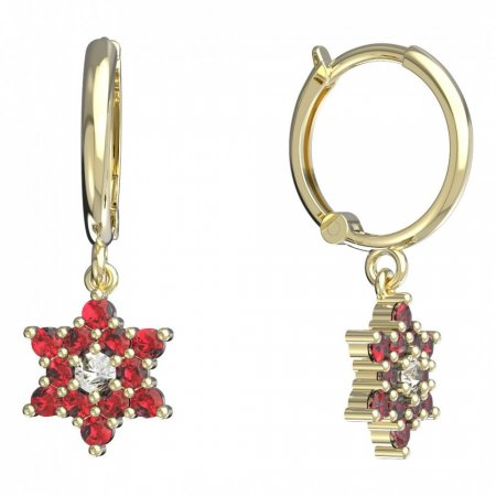 BeKid, Gold kids earrings -090 - Switching on: Circles 12 mm, Metal: Yellow gold 585, Stone: Red cubic zircon