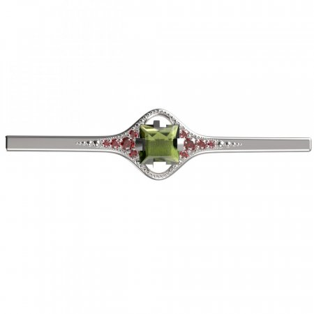 BG brooch 496K - Metal: White gold 585, Stone: Moldavit and garnet