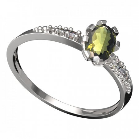 BG moldavit ring - 560D - Metal: Yellow gold 585, Stone: Moldavite and cubic zirconium