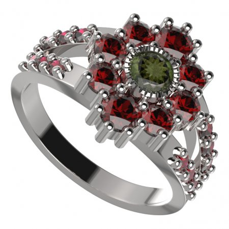 BG ring circular 017-Y - Metal: Silver 925 - rhodium, Stone: Moldavit and garnet