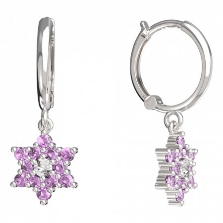 BeKid, Gold kids earrings -090 - Switching on: Circles 12 mm, Metal: White gold 585, Stone: Pink cubic zircon