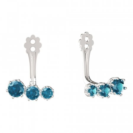 BeKid Gold earrings components  three stones - Metal: White gold 585, Stone: Light blue cubic zircon