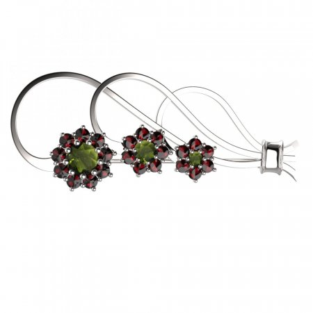 BG brooch 063 - Metal: White gold 585, Stone: Moldavit and garnet