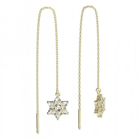 BeKid, Gold kids earrings -090 - Switching on: Chain 9 cm, Metal: White gold 585, Stone: Pink cubic zircon