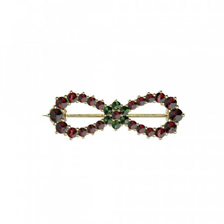 BG brooch 024 - Metal: Silver 925 - rhodium, Stone: Moldavit and garnet