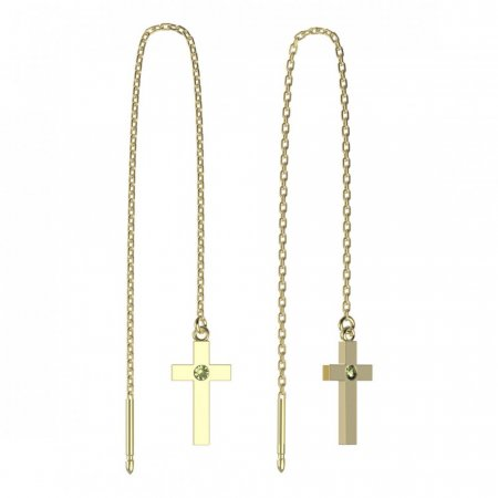 BeKid, Gold kids earrings -1104 - Switching on: Chain 9 cm, Metal: Yellow gold 585, Stone: Green cubic zircon