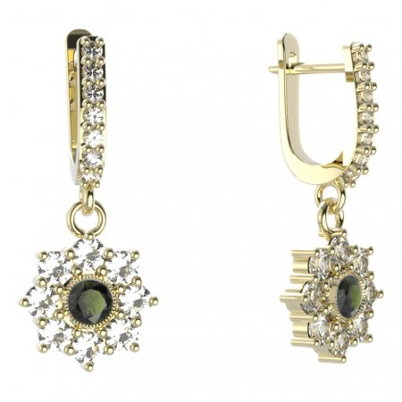 BG circular earring 030-84 - Metal: Yellow gold 585, Stone: Moldavit and garnet
