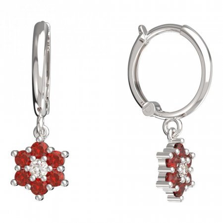 BeKid, Gold kids earrings -109 - Switching on: Circles 12 mm, Metal: White gold 585, Stone: Red cubic zircon