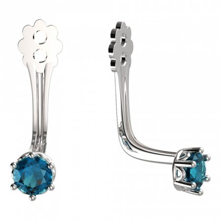 BeKid Gold earrings components 3 - Metal: White gold 585, Stone: Light blue cubic zircon