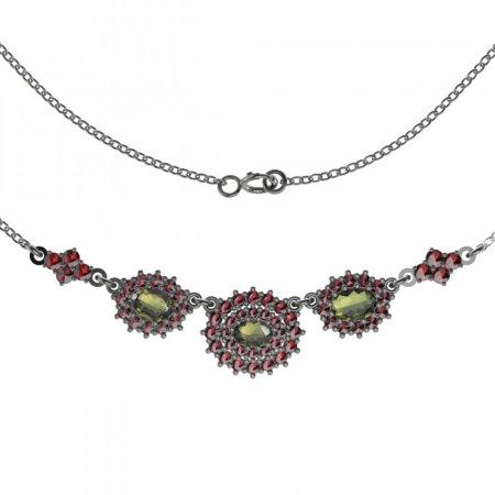 BG necklace 749 - Metal: Silver 925 - rhodium, Stone: Garnet