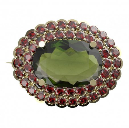 BG brooch 485 - Metal: Yellow gold 585, Stone: Garnet