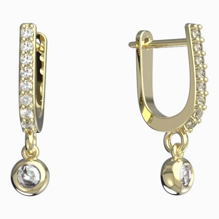 BeKid, Gold kids earrings -101 - Switching on: Circles 12 mm, Metal: Yellow gold 585, Stone: Green cubic zircon