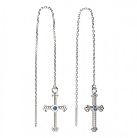 BeKid, Gold kids earrings -1110 - Switching on: Chain 9 cm, Metal: White gold 585, Stone: Light blue cubic zircon