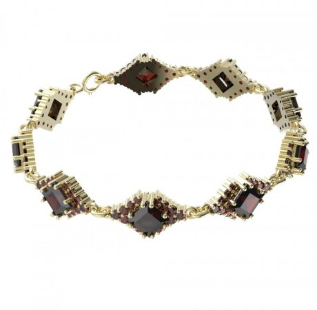 BG bracelet 427 - Metal: Yellow gold 585, Stone: Moldavit and garnet