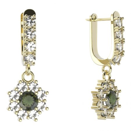 BG circular earring 023-96 - Metal: Silver - gold plated 925, Stone: Moldavite and cubic zirconium