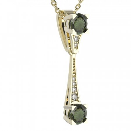 BG moldavit pendant 985 - Metal: Yellow gold 585, Handle: Handle 0, Stone: Moldavite and cubic zirconium