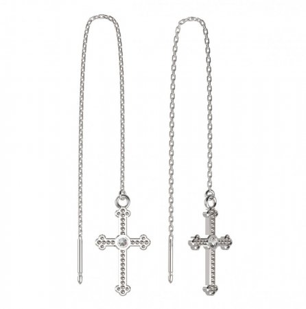 BeKid, Gold kids earrings -1110 - Switching on: Chain 9 cm, Metal: White gold 585, Stone: White cubic zircon