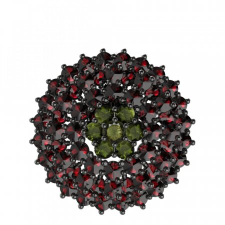 BG brooch 223 - Metal: Silver - gold plated 925, Stone: Moldavit and garnet