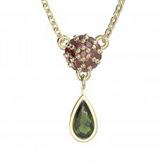 BG necklace with moldavite and garnet 255K