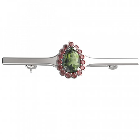 BG brooch 519I - Metal: Yellow gold 585, Stone: Moldavit and garnet
