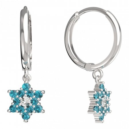 BeKid, Gold kids earrings -090 - Switching on: Circles 15 mm, Metal: White gold 585, Stone: Light blue cubic zircon