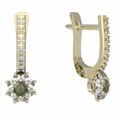 BG moldavit earrings -886 - Switching on: English E, Metal: Yellow gold 585, Stone: Moldavite and cubic zirconium