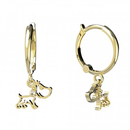BeKid, Gold kids earrings -1159 - Switching on: Circles 15 mm, Metal: White gold 585, Stone: Dark blue cubic zircon
