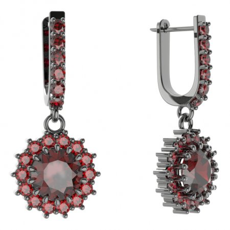 BG circular earring 096-94 - Metal: White gold 585, Stone: Moldavit and garnet