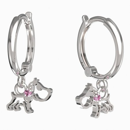 BeKid, Gold kids earrings -1159 - Switching on: Circles 12 mm, Metal: White gold 585, Stone: Pink cubic zircon