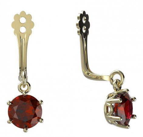 BeKid Gold earrings components I5 - Metal: Yellow gold 585, Stone: Red cubic zircon