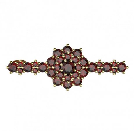 BG brooch 011 - Metal: Silver - gold plated 925, Stone: Garnet