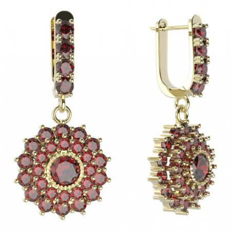 BG circular earring 004-96 - Metal: White gold 585, Stone: Moldavit and garnet