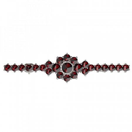BG brooch 017 - Metal: White gold 585, Stone: Garnet
