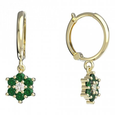 BeKid, Gold kids earrings -109 - Switching on: Circles 12 mm, Metal: Yellow gold 585, Stone: Green cubic zircon