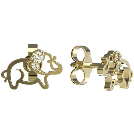 BeKid, Gold kids earrings -1158 - Switching on: Puzeta, Metal: Yellow gold 585, Stone: Light blue cubic zircon