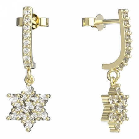 BeKid, Gold kids earrings -090 - Switching on: Puzeta, Metal: White gold 585, Stone: White cubic zircon