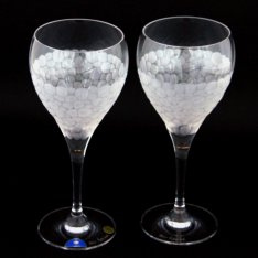 Set of two crystal hand cut wine glasses Šafránek 630