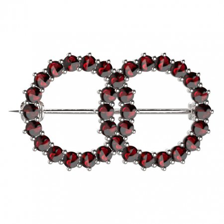 BG brooch 027 - Metal: White gold 585, Stone: Garnet