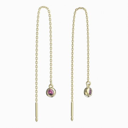 BeKid, Gold kids earrings -101 - Switching on: Chain 9 cm, Metal: Yellow gold 585, Stone: Pink cubic zircon