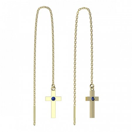 BeKid, Gold kids earrings -1104 - Switching on: Chain 9 cm, Metal: Yellow gold 585, Stone: Dark blue cubic zircon
