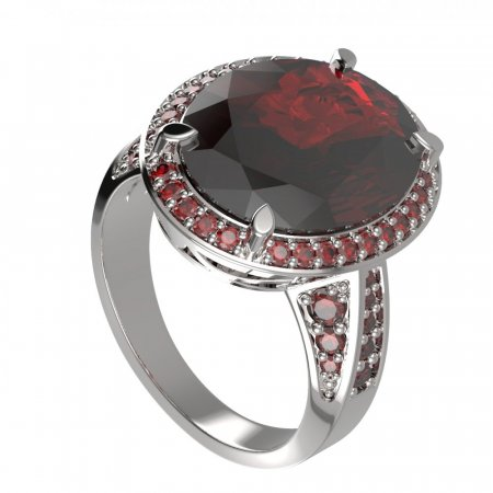 BG ring oval 648 - Metal: Silver 925 - rhodium, Stone: Moldavit and garnet
