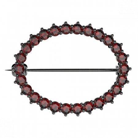 BG brooch 009 - Metal: Silver - gold plated 925, Stone: Garnet