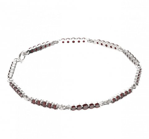 BG bracelet 204 - Metal: Yellow gold 585, Stone: Moldavit and garnet