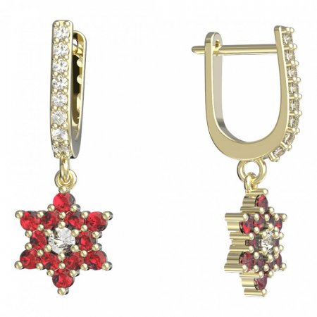 BeKid, Gold kids earrings -090 - Switching on: English, Metal: Yellow gold 585, Stone: Red cubic zircon