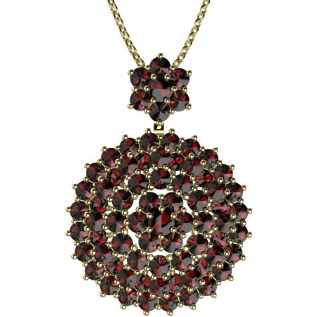 BG brooch 223 - Metal: Silver - gold plated 925, Stone: Garnet