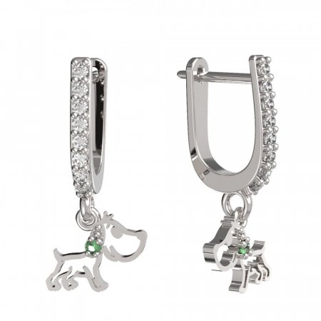 BeKid, Gold kids earrings -1159 - Switching on: English, Metal: White gold 585, Stone: Light blue cubic zircon