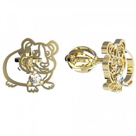 BeKid, Gold kids earrings -1204 - Switching on: Puzeta, Metal: Yellow gold 585, Stone: White cubic zircon