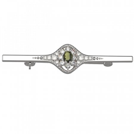 BG brooch 627K - Metal: White gold 585, Stone: Moldavite and cubic zirconium